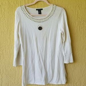 White sweater w/ beaded detail Sz S